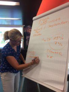Jana Theuerkauf von ThEx Enterprise beim Workshop für Migranten in Meiningen
