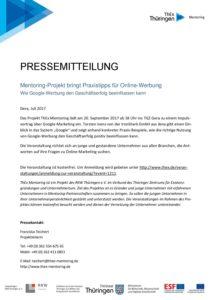24 07 2017 Pressemitteilung Zur Veranstaltung Am 20 September 2017 Mentoring Projekt Bringt Praxistipps Fur Online Werbung Thex Mentoring