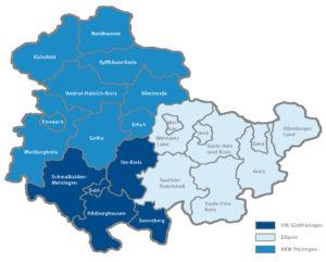 Darstellung der räumlichen Zuständigkeit in Thüringen