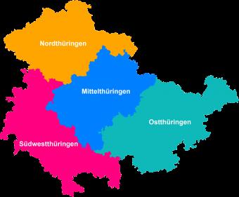 Karte der Planungsregionen Thüringens